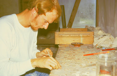 Don Callendar reconstructing pottery in Tikal laboratory